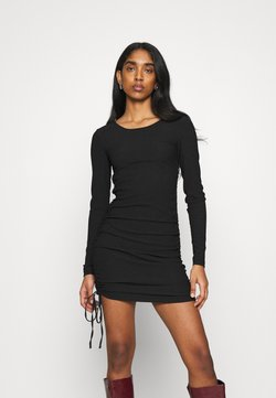 Topshop - PLAIN RUCH SIDE - Jerseykleid - black