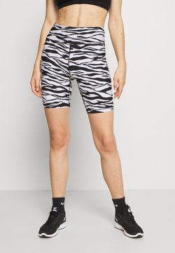 DKNY - ZEBRA PRINT HIGH WAIST BIKE SHORT INSEAM - Tights - white