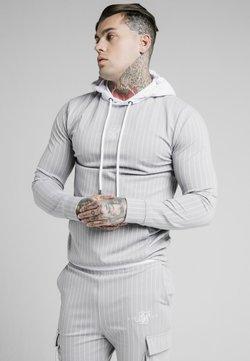 SIKSILK - DUAL STRIPE OVERHEAD HOODIE - Langarmshirt - grey/white