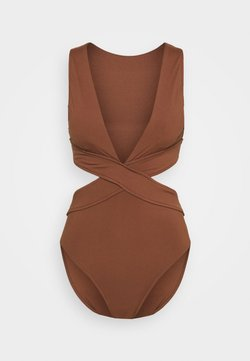 Seafolly - ACTIVE CROSS FRONT PLUNGE MAILLOT - Badpak - chocolate