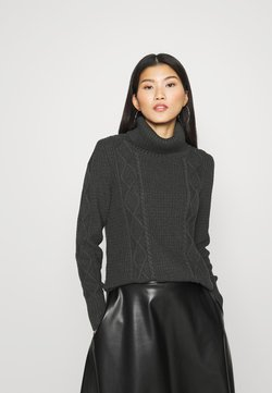GAP - CABLE T NECK - Strickpullover - charcoal