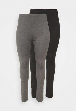 Even&Odd Curvy - 2 PACK - Leggings - Trousers - black/grey