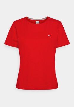 Tommy Jeans - SLIM CNECK - T-shirt basic - deep crimson