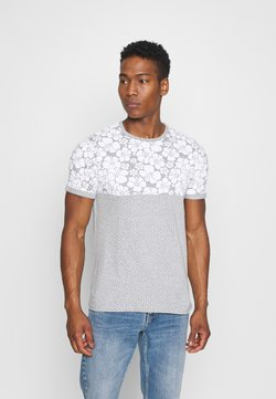 Brave Soul - PEARL - T-shirt z nadrukiem - grey marl/white