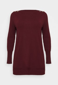 Evans - BERRY BUTTON CUFF TUNIC - Jersey de punto - berry