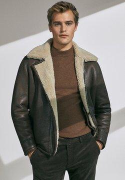 Massimo Dutti - DOUBLEFACE - Leren jas - brown