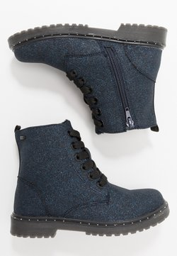 TOM TAILOR - Bottines à lacets - navy glitter