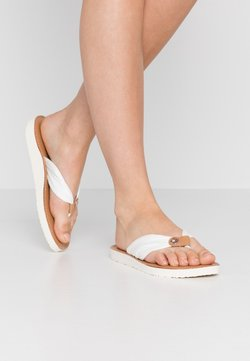 Tommy Hilfiger - LEATHER FOOTBED BEACH SANDAL - Varvassandaalit - ivory