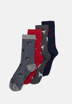Thought - TILLIE ANIMAL SOCK BOX 4 PACK - Socken - grey/red/dark blue