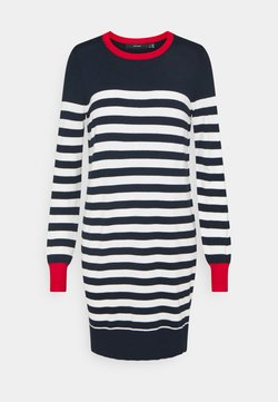 Vero Moda - VMLACOLE STRIPE BALLOON DRESS  - Vestido de punto - navy blazer/white snow