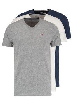Hollister Co. - 3 PACK - Basic T-shirt - white grey navy