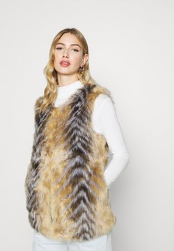 Missguided - CHEVRON TIPPED FUR GILET - Smanicato - beige