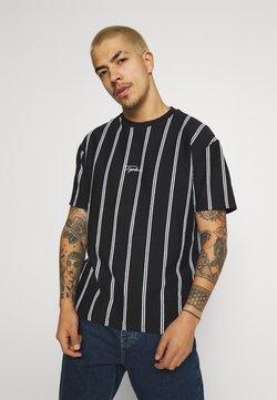 Topman - STRIPE SIGNATURE TEE - T-Shirt print - black