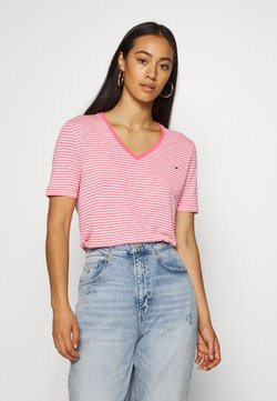 Tommy Jeans - TEXTURE FEEL V NECK TEE - T-shirt z nadrukiem - glamour pink/white