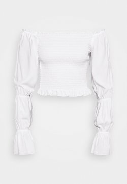 NA-KD - PAMELA REIF X NA-KD PUFFY SLEEVE SMOCKED - Bluse - white
