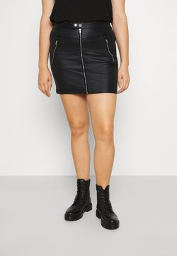 Missguided Plus - COATED DOUBLE POPPER SKIRT - Bleistiftrock - black