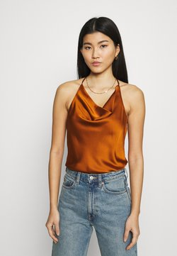 Abercrombie & Fitch - COWLNECK T STRAP BACK BODYSUIT - Top - brown