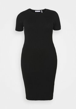 NU-IN - SHORT SLEEVE DRESS - Strickkleid - black