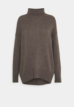 pure cashmere - HIGH NECK OVERSIZED - Strickpullover - heather brown