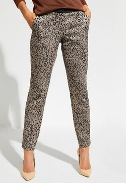 comma - MIT LEOPARDENMUSTER - Stoffhose - brown