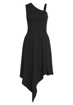 Lost Ink - FRILL SHOULDER MIDI DRESS - Jersey dress - black
