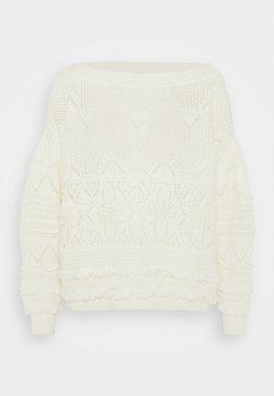 TWINSET - MAGLIA CROCHET CON FRANGE - Jersey de punto - white