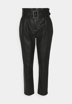 Steffen Schraut - LUXURY PAPERBAG PANTS - Leather trousers - black