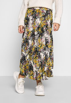 Topshop Petite - FLORAL CRYSTAL TIE PLEAT - Maxi skirt - ivory