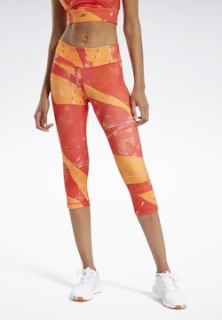 Reebok - WORKOUT READY PRINTED LEGGINGS - Tights - red