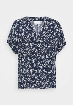 Kaffe - LUPE BLOUSE - T-Shirt print - white / midnight marine flower