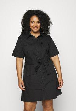 Missguided Plus - UTILITY POCKET SHIRT DRESS - Shirt dress - black