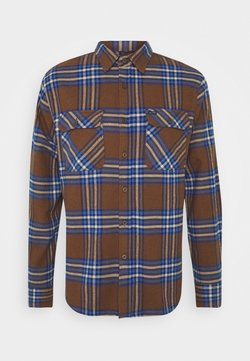 Brixton - BOWERY - Camisa - washed brown/mineral blue