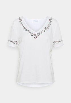 Vila - VITINNY V-NECK - T-Shirt print - snow white