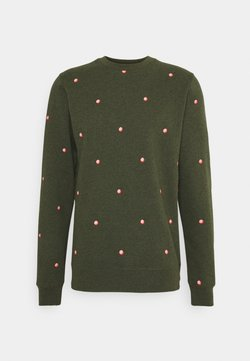 Scotch & Soda - CREW NECK WITH SMALL ALLOVER PRINT - Sweatshirt - dark green/light pink