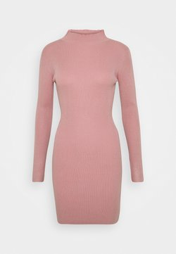 Missguided - HIGH NECK MINI DRESS - Vestido de punto - pink