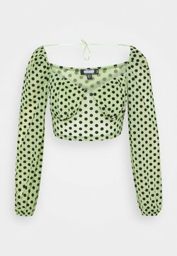Missguided - FLOCKED SPOT LONG SLEEVE CROP  - Bluse - mint