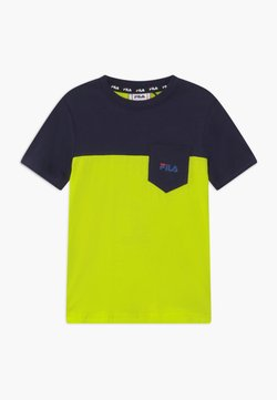 Fila - MARCO BLOCKED  - T-shirt print - lime popsicle/black iris