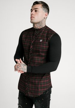 SIKSILK - CHECK GRANDAD - Hemd - burgundy/black
