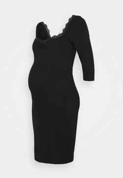 Glamorous Bloom - DRESS WITH SLEEVES AND SWEETHEART NECKLINE - Vestito di maglina - black