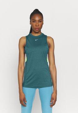 Nike Performance - DRY STRIPE - Top - dark teal green/lime glow