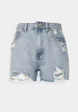 Missguided Petite - HEM DISTRESS - Jeans Shorts - blue