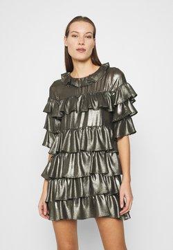 Who What Wear - RUFFLE MINI DRESS - Cocktailkleid/festliches Kleid - bronze