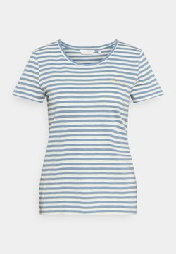 TOM TAILOR DENIM - STRIPED TEE WITH EMBRO - T-Shirt print - blue/creme/yellow