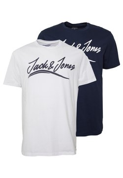 Jack & Jones - JORFLEXER 2 PACK - T-shirt imprimé - navy blazer/white