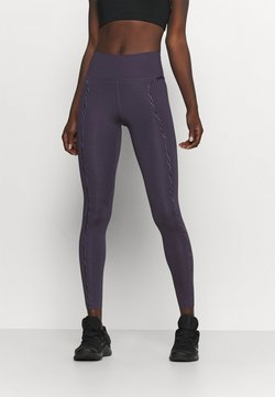 Nike Performance - ONE LUX - Tights - dark raisin/black/clear