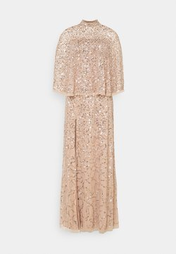Maya Deluxe - DELICATE SEQUIN DRESS WITH DETACHABLE CAPE - Vestido de fiesta - taupe blush