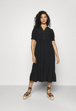 Forever New Curve - JADE CURVE TIERED SHIRT DRESS - Maxikleid - black