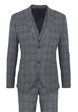 Isaac Dewhirst - BLUE CHECK 3PCS SUIT SUIT - Anzug - blue