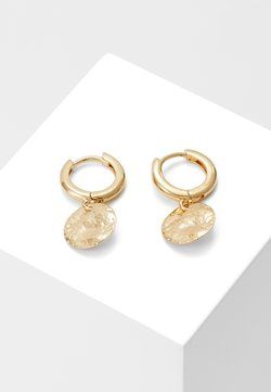 Orelia - MOLTEN COIN HUGGIE HOOPS - Earrings - pale gold-coloured