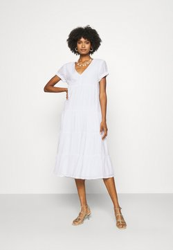 Club Monaco - SEAMED TIERED DRESS - Maxikleid - white